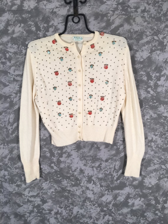 50's Beaded Cashmere Cardigan