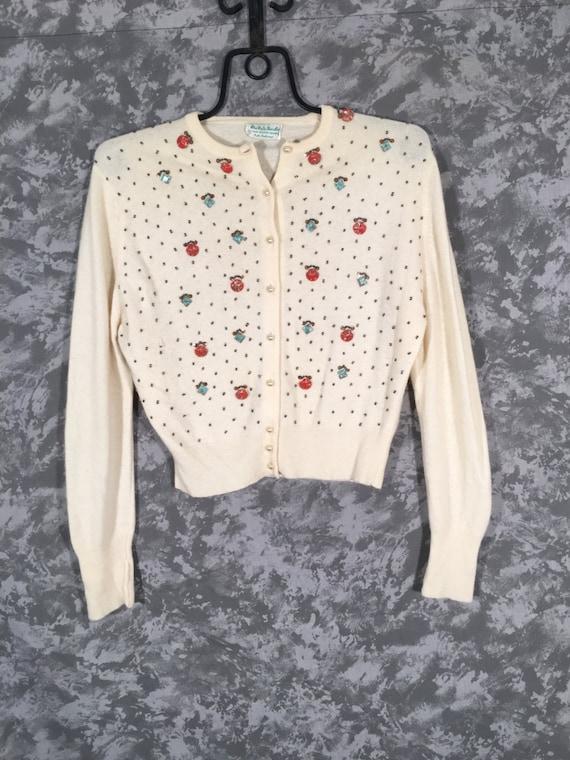 50's Beaded Cashmere Cardigan