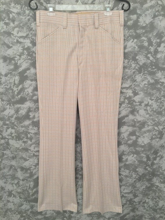 1970's Neutral Plaid Bell Bottoms (Deadstock)