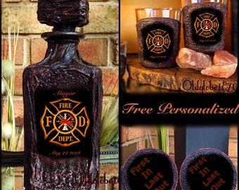 Firefighter Whiskey Decanter Set~Firefighter Gift~Custom Whiskey Set ~Anniversary Gift~#WDS425