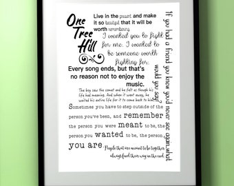 One Tree Hill/One Tree Hill Quote/OTH Quote/Wall Art Quote/Wall Art/Quote Print/Printable Quote/Simple Wall Art/subway Art/Modern Decor  sc 1 st  Etsy & One tree hill decor | Etsy