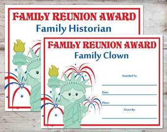 Family Reunion Awards Certificates Parties INSTANT DOWNLOAD