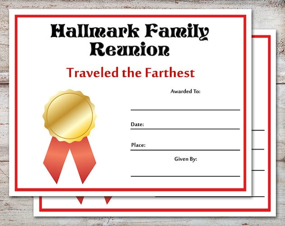 EDITABLE Family Reunion Awards Certificates Parties INSTANT DOWNLOAD