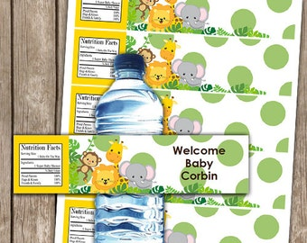 EDITABLE Safari Animal Baby Shower Water Bottle Wrappers INSTANT DOWNLOAD
