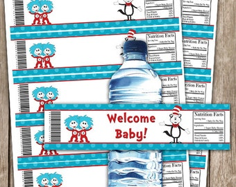 EDITABLE Doctor Seuss Inspired Baby Shower Water Bottle Wrappers INSTANT DOWNLOAD