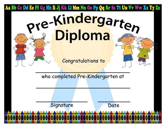pre kindergarten graduation diplomas blank graduation etsy