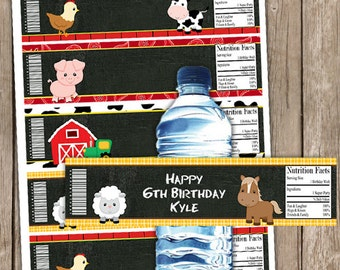 EDITABLE Farm Animal Chalkboard Water Bottle Wrappers INSTANT DOWNLOAD