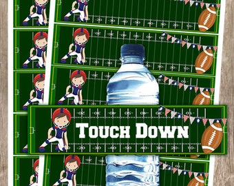 EDITABLE Football Tailgate or Birthday Party Water Bottle Wrappers INSTANT DOWNLOAD
