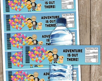 Disney Up Inspired Birthday Party Water Bottle Wrappers Instant Download