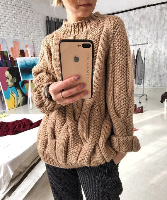 Merino hand knitted sweater, Merino pullover, Wool sweater, Oversize Cable knit sweater Beige pullover Oversize pullover Knitted clothing