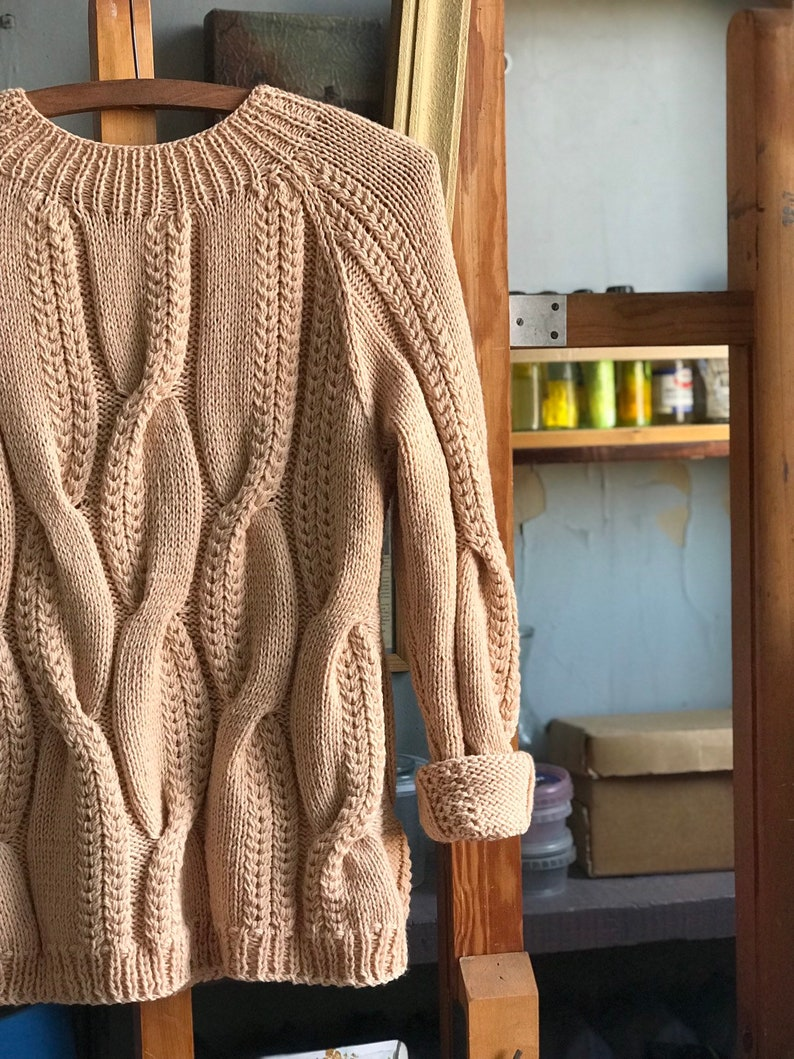 Beige oversized jumper for women a universal option for the winter Merino