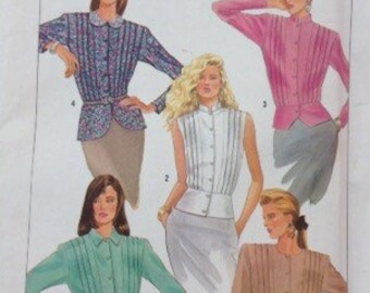Simplicity Peplum Blouse pattern with sleeve and detail variations