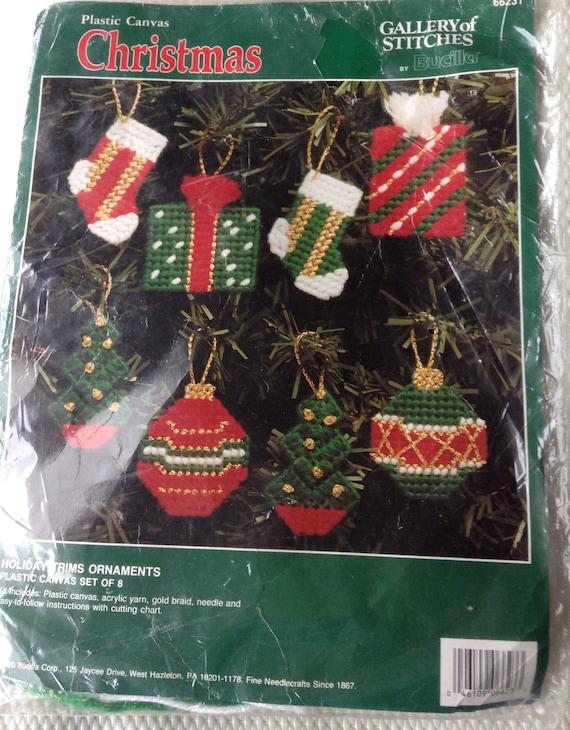 Plastic Canvas Christmas Ornaments.Bucilla Plastic Canvas Christmas Ornament Craft Kit