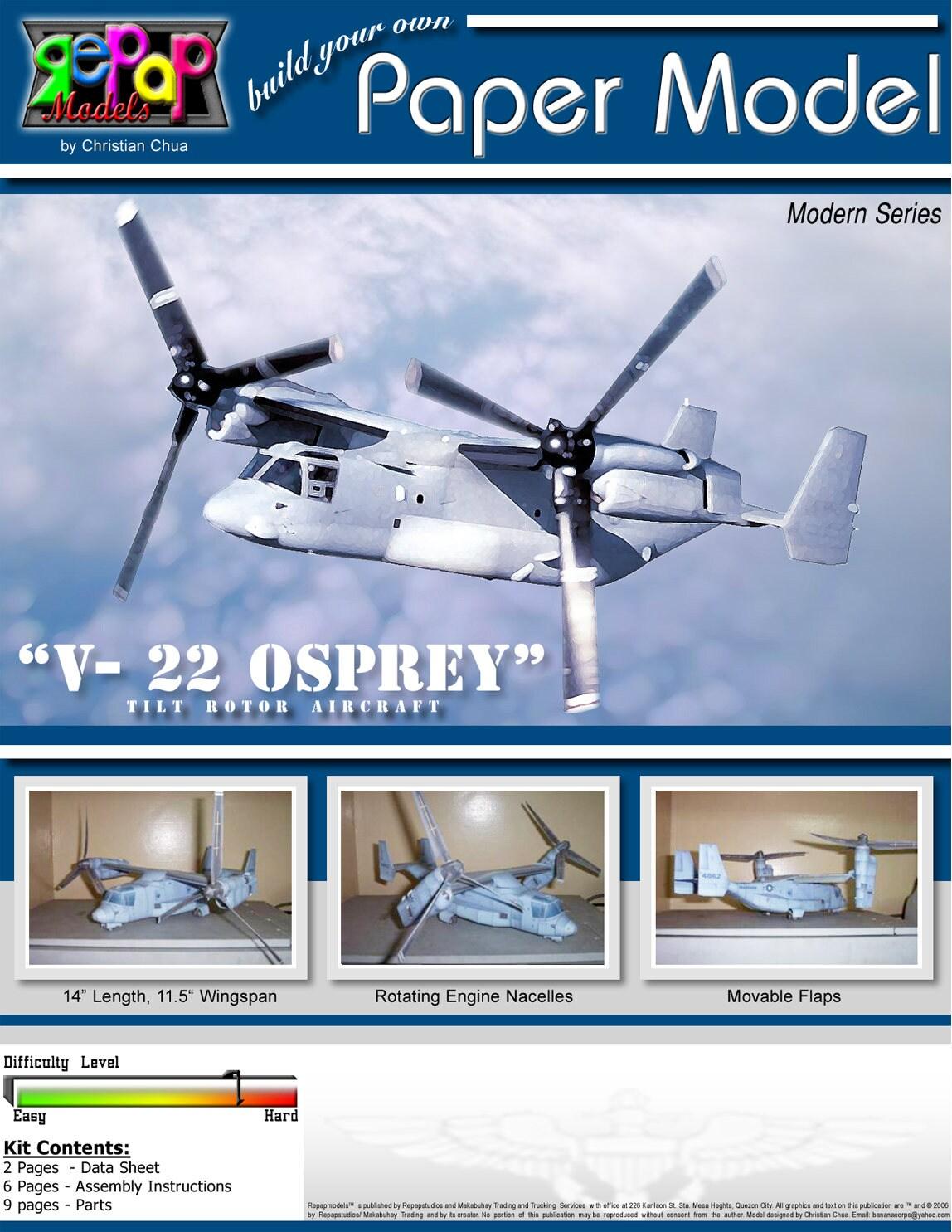 Build Your Own V 22 Osprey Papecraft Etsy Engine Diagram Zoom