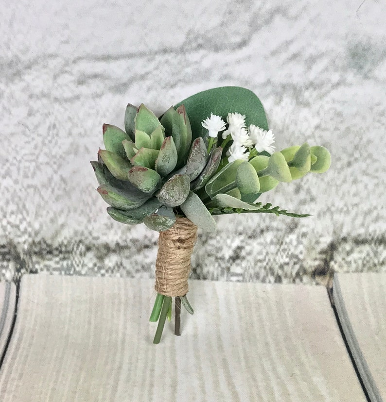 Eucalyptus Boutonni\u00e8re White Boutonni\u00e8re Succulent Boutonni\u00e8re Groom Green Boutonni\u00e8re Silk Boutonni\u00e8re Baby/'s Breath Boutonniere