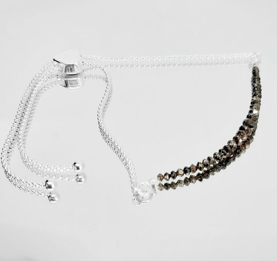 Stacker Bracelet Black Diamond Gold Bracelet Black Diamond Jewellery Black Diamonds Gift for Wife or Girlfriend Wire Wrapped Bracelet