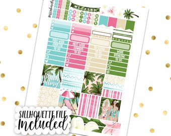 BEACH DAYS Personal Kit // Printable Planner Stickers / Erin Condren Kikki K Filofax Recollections Color Crush Summer Vacation Tropical