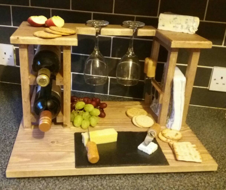 Wine Rack Cheese Board Wedding Gift Kitchen Storage Christmas Gifts Gifts For Her Wine Cheesegifts For Himantique Pine