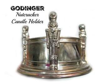 Nut Cracker decor , Nut cracker candle holder -silver candle holder -  metal candle holder -  Christmas decor - # 8
