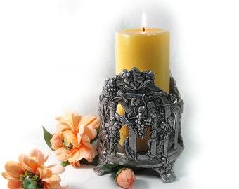 pewter candle holder -candle holder  - grape candle holder - grape decor - # 7