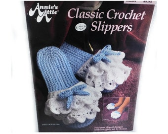 Crochet slipper pattern- Slippers  Booties  Slings  Slip-Ons  Ballerin  Childs Crochet, pattern - Annie's Attic , Pattern Leaflet , # 53