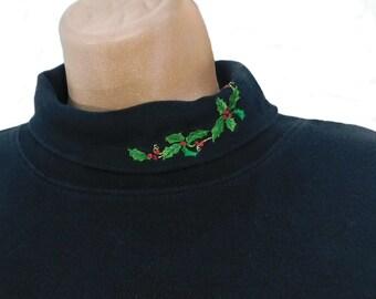 Vintage Black turtleneck shirt- Christmas turtleneck, Holiday clothing turtleneck -Christmas party top -Vintage Christmas T Shirt women