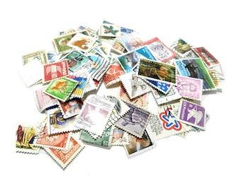 Vintage Lot USA Foreign Stamps -Worldwide Foreign stamps lot- Cancelled Assorted stamps -COLLECTIBLE stamps  altered art supply, # 14