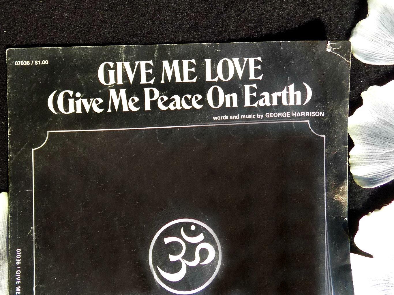 vocal and instrumental sheet music -Vintage piano Sheet Music-Give Me Love  Music -Copyright 1973 - paper ephemera