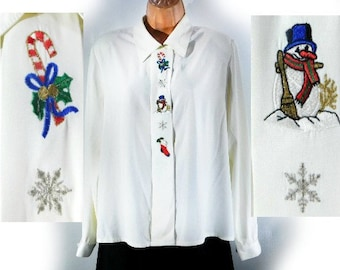 Christmas clothing women, 80s Christmas Novelty Holiday Party Button Up Collared White Blouse -vintage Snowman Holiday clothing shirt, # 10