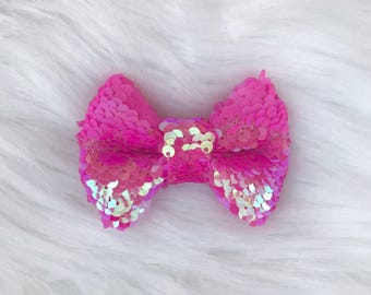 Iridescent Hot Pink Sequin Bow, hair bow on clip or headband