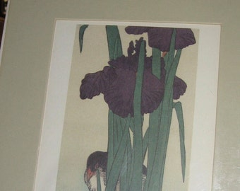 Vintage (1984/85) Lithograph of Japanese Woodcut of Iris & Bird - Factory Sealed Matted Lithograph by Portal Publications 85 ORO15