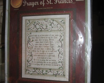 "Prayer of St Francis Counted Cross Stitch Kit by Cross My Heart, Inc, 13.6"" x 18.5"" Framable Image - Complete Kit/Factory Sealed Kit 2007"