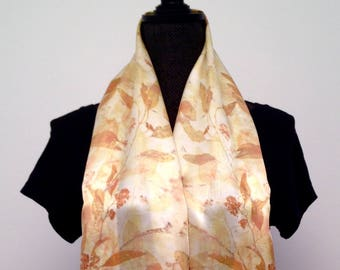 Women's Eco Print Charmeuse Silk Shawl Scarf Natural Dyed Botanical Print Scarf Handprinted Scarf Eco Friendly Natural Dyed Womens Wrap