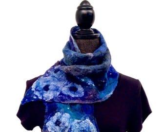 Womens Royal Blue Merino Wool Felted Silk Scarf Nuno Felt Scarf Womens Winter Scarf Felt Scarf Wool Scarf Wrap Boho Wrap Gift For Her