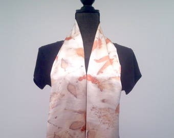 Womens Eco Print Silk Charmeuse Shawl Scarf Natural Dyed Botanical Print Scarf Handprinted Scarf Eco Friendly Natural Dyed Womens Wrap