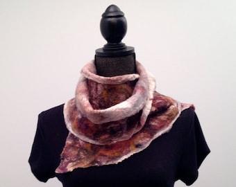 Womens Maroon and Black Merino Wool Felted Silk Scarf Nuno Felt Scarf Womens Winter Scarf Felt Scarf Wool Scarf Wrap Boho Wrap Gift For Her