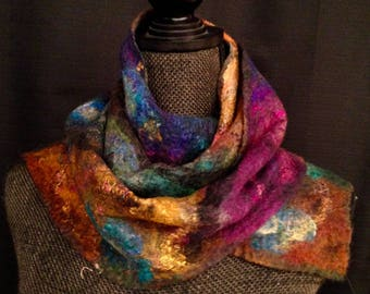 Womens Gold Felted Scarf Silk Scarf Merino Wool Felted Scarf Womens Winter Scarf Felt Scarf Wool Scarf Wrap Boho Wrap Gift For Her