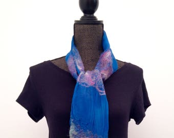 Womens Blue Felted Scarf Silk Scarf Merino Wool Felted Scarf Womens Winter Scarf Felt Scarf Wool Scarf Wrap Boho Wrap Gift For Her