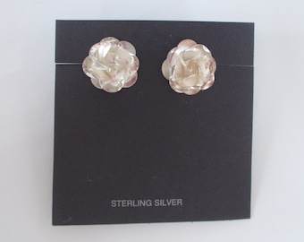 Large Rose .925 Sterling Silver Studs Post Earrings