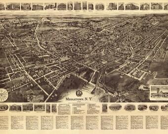 24x36 Vintage Reproduction Historic Map Port Jervis New York 1920 Orange