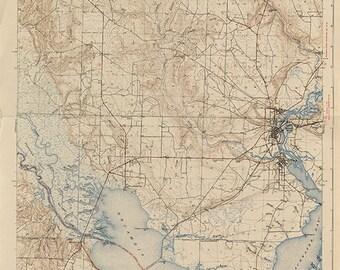 Florida Topographic Map.Old Santa Poster Art Etsy