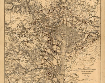 Vintage restoration hardware home Deco Style old wall reproduction map print. city of Atlanta during 1864 Map of Civil War Centennial