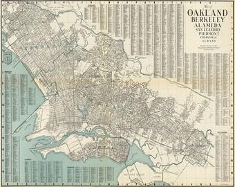 Karta Berkeley California.Old Oakland Map Etsy