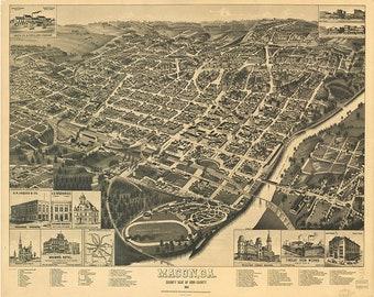 24x36 Vintage Reproduction Historic Map Fitzgerald Georgia 1908 Ben Hill