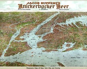 Jacob Ruppert 39 s Knickerbocker beer advertisment in a detailed panoramic style map of New York and surrounding areas Art Print Poster NY0083
