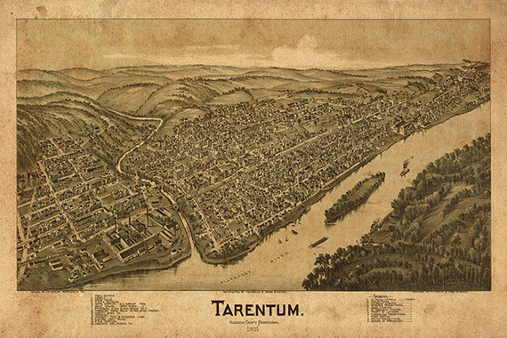 Allegheny Co. Vintage restoration hardware home Deco Style old wall reproduction map print. Pennsylvania PA 1901 Map of Tarentum
