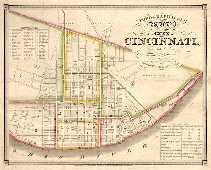 Mapa De Ohio De Cincinnati Hamilton Co 1838 Restauracion Etsy