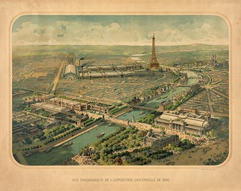 Official Interternation Exposition Universelle World Fair of 1900, Paris, France.  L'Exposition de Paris.  Vintage reproduction Print Map.