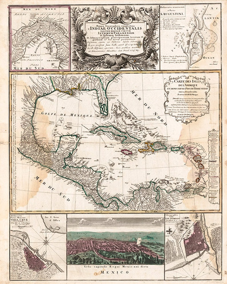 Map Of America Gulf Coast.Map Of The West Indies Gulf Coast Gulf Of Mexico Caribbean Sea And Bahama Islands 1759 Vintage Reprint Map