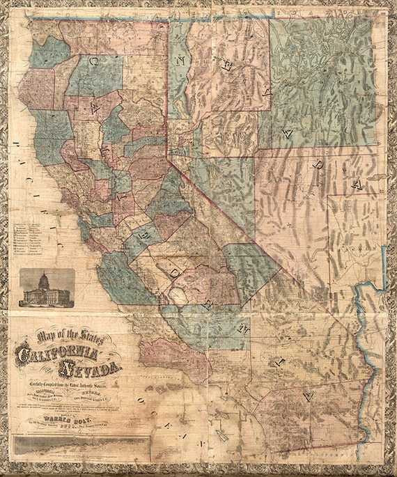 Map of California and Nevada 1876. Vintage restoration hardware home Deco  Style old wall reproduction map print.